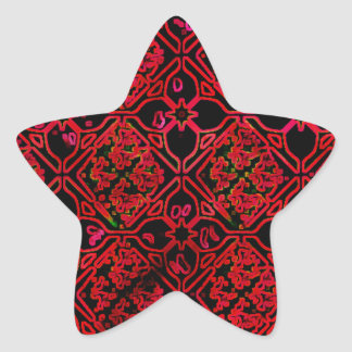Cool Grunge Red Medieval Print Star Stickers