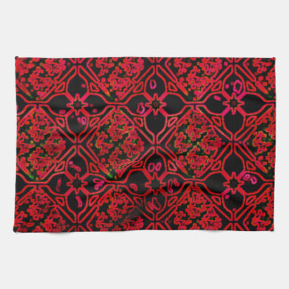 Cool Grunge Red Medieval Print Tea Towel