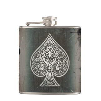 Cool Grunge Retro Artistic Poker Ace Flask