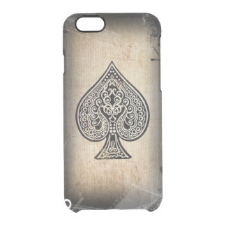 Cool Grunge Retro Artistic Poker Ace Of Spades Clear iPhone 6/6S Case