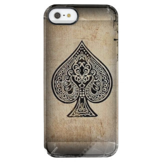 Cool Grunge Retro Artistic Poker Ace Of Spades Clear iPhone SE/5/5s Case