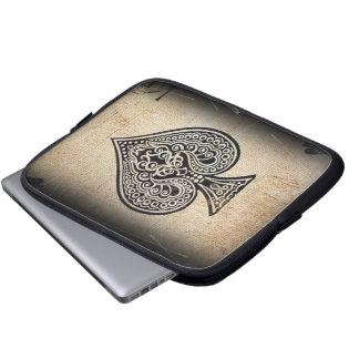Cool Grunge Retro Artistic Poker Ace Of Spades Computer Sleeve