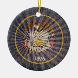 Cool Grunge Utah Flag Christmas Ornament