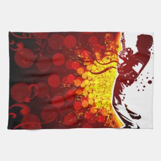 cool guitar musician silhouette background print tea towel