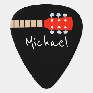cool guitar-neck with name & initial black guitar pick
