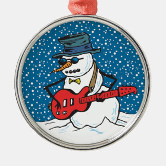 Cool Guitarist Snowman Ornaments