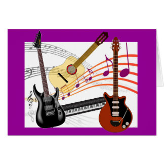 Cool Guitars Keyboard and Music Notes Birthday