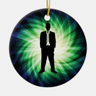 Cool Guy in Suit Silhouette Christmas Ornament