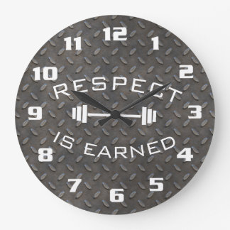 Cool Gym Motivational Respect Is Earned Large Clock