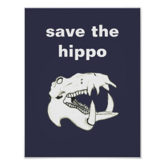Cool Hand Drawn Hippo Skull Save the Hippo Poster