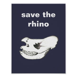 Cool Hand Drawn Hippo Skull Save the Rhino Poster