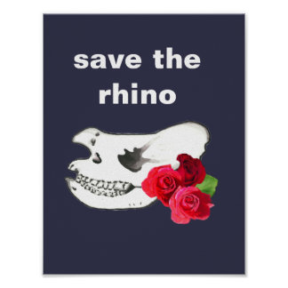Cool Hand Drawn Hippo Skull with Roses Poster