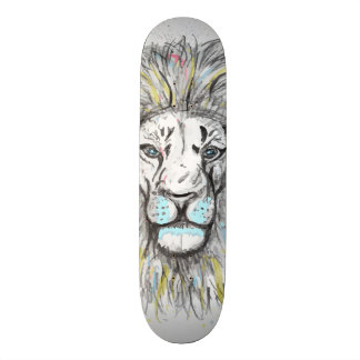 Cool hand drawn sketch and watercolor Lion design Skate Deck