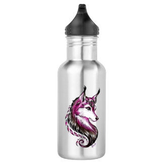 Cool Hand Drawn Wolf Stainless Steel Water Bottle