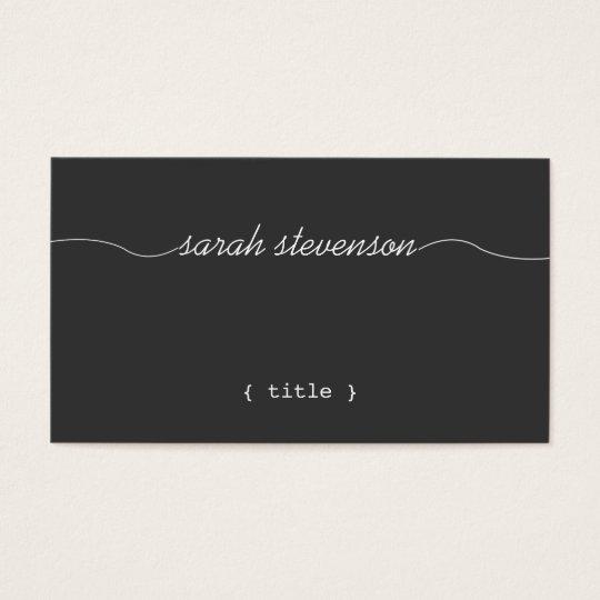 Cool, Handwritten Script, Simple Black Writer Business Card