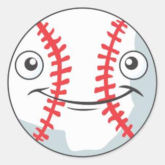 Cool Happy Baseball Sports Cartoon Round Stickers