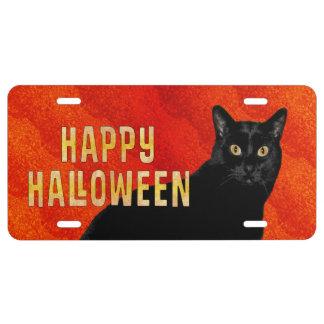 Cool Happy Halloween Black Cat License Plate