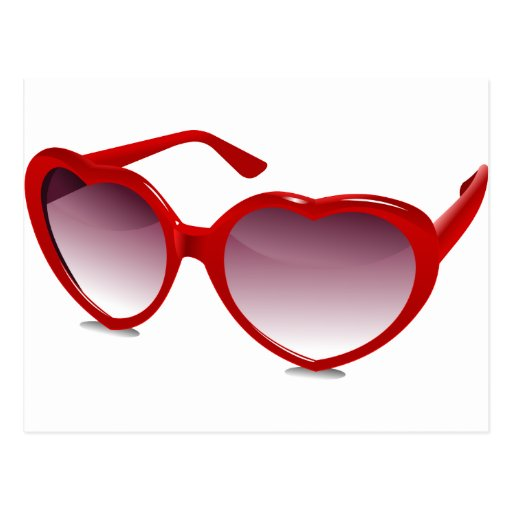 Cool heart shaped sunglasses design post cards