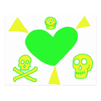 Cool Heart With Rays and Skulls Postcard