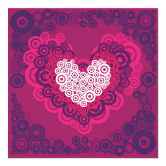 Cool Hearts Circle Pattern Hot Pink Purple 13 Cm X 13 Cm Square Invitation Card