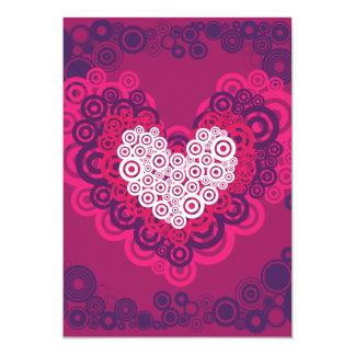 Cool Hearts Circle Pattern Hot Pink Purple 13 Cm X 18 Cm Invitation Card
