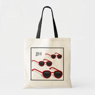 Cool Hip Red Sunglasses Optional Monogram Beach Budget Tote Bag