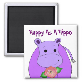 Cool Hippo With Flowers Magnet