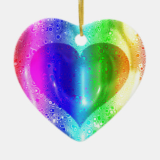 Cool Hippy Heart Design Ceramic Heart Decoration