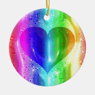 Cool Hippy Heart Design Round Ceramic Decoration