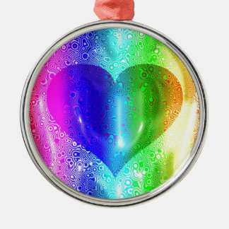 Cool Hippy Heart Design Silver-Colored Round Decoration