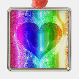 Cool Hippy Heart Design Silver-Colored Square Decoration