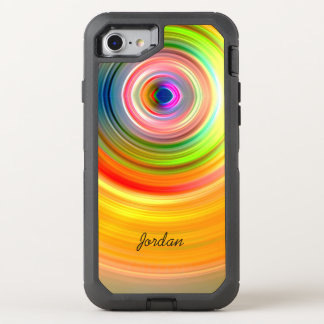 Cool Hipster Colorful Rainbow Circles Monogram OtterBox Defender iPhone 7 Case