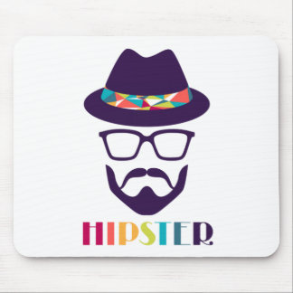 Cool Hipster colourful hat glasses Mouse Mat