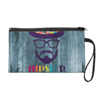 cool hipster cool hat glasses beard blue wood wristlet clutches