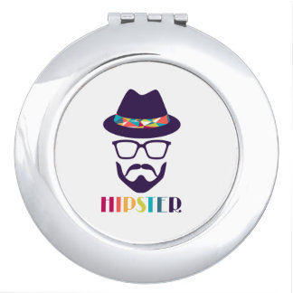 cool hipster cool hat glasses fun beard compact mirrors