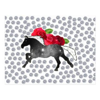 Cool Hipster Diamonds Roses Horse Nebula Galaxy Postcard