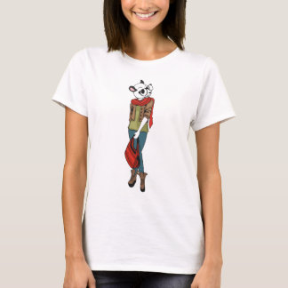 Cool Hipster Girl with Panda Head T-Shirt