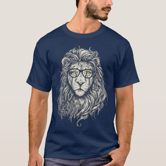 Cool Hipster Lion Men's Basic Dark T-Shirt
