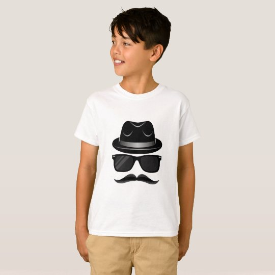 Cool Hipster with moustache, hat and sunglasses T-Shirt