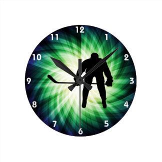 Cool Hockey Player Round Clock