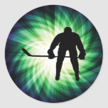 Cool Hockey Player Round Stickers