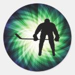 Cool Hockey Player Round Stickers