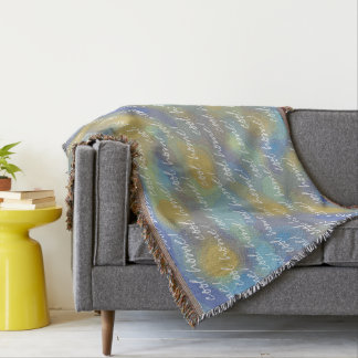 Cool home Blue and Gold Abstract Design Throw Blanket