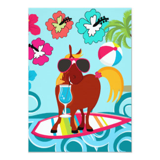 Cool Horse Surfer Dude Summer Fun Beach Party Card