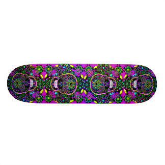 Cool Hot Green and Purple Sugar Skull Skate Board Decks