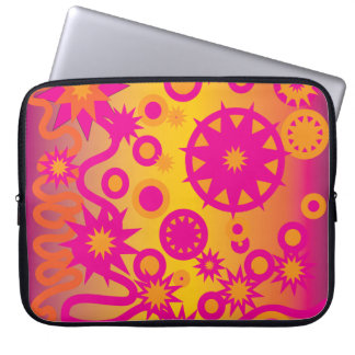 Cool Hot Pink Orange Girly Stars Circles Pattern Laptop Computer Sleeve