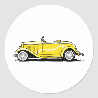 Cool Hot Rod Convertible Round Stickers