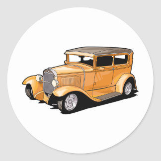 Cool Hot Rod Coupe Round Sticker