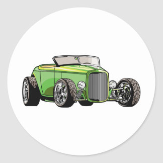 Cool Hot Rod Roadster Round Sticker