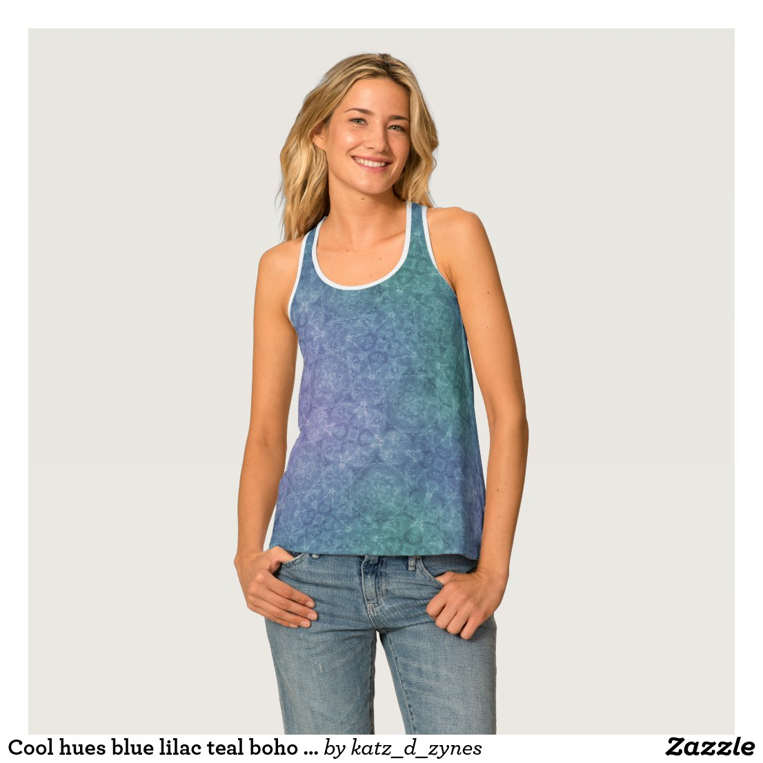 Cool hues blue lilac teal boho style pattern tank top